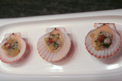 Scallops plated in shells on top of mounds of sea salt mixed with water.