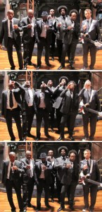"The Roots (from left to right): Damon ""Tuba Gooding Jr"" Bryson, James Boyser, Tariq ""Black Thought"" Trotter, Frank ""Frankie Knuckles"" Walker, Ahmmir ""?uestlove"" Thompson, Captain Kirk Douglas, Owen Biddle; Jimmy's kick-ass house band; Phili boys; we wish they could always play behind us as we distill on the rotovap."