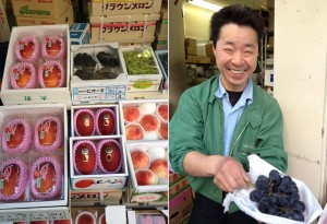 Fruit being sold at Tsukiji Market. The man on the right is holding a bunch of Pione grapes. That bunch cost 40 dollars.