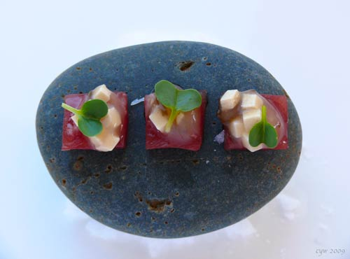 Don't Throw Stones in a Glass House (thankfully, no one did): Tuna with miso soup fluid gel.