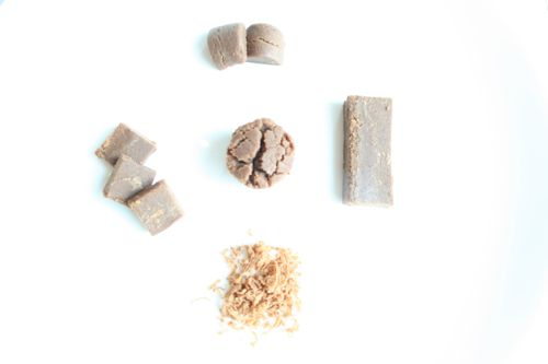 simple syrup-dosed nut solids can be shaped, cut, and even grated