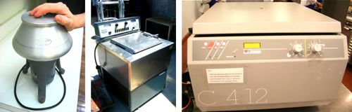Some people collect stamps... from left to right: dangerfuge, Unilever's centrifuge, our latest Jouan centrifuge