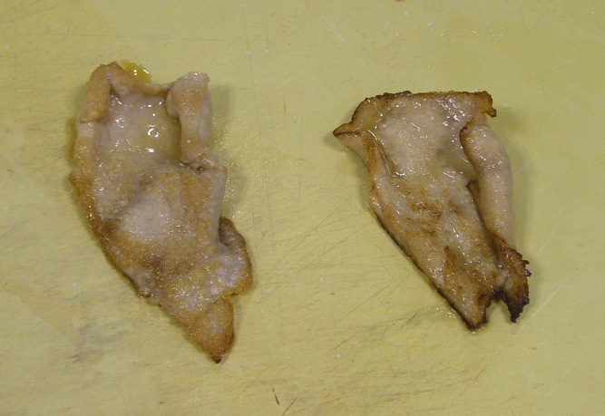 Marinated sinew to the right.