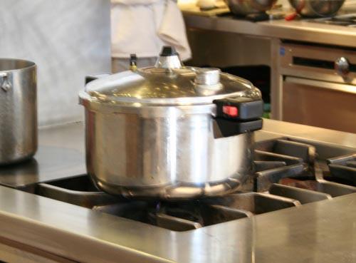 Step 2: Pressure-cooking Jouan buckets, simulating autoclave steam-sterilization