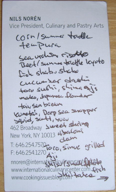 First part of the menu, the writing is pretty small. Right? The rest of the menu is on the flip side.