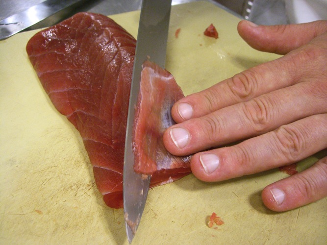 separating sinew and meat