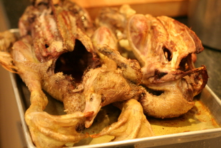 The cooked duck carcasses.