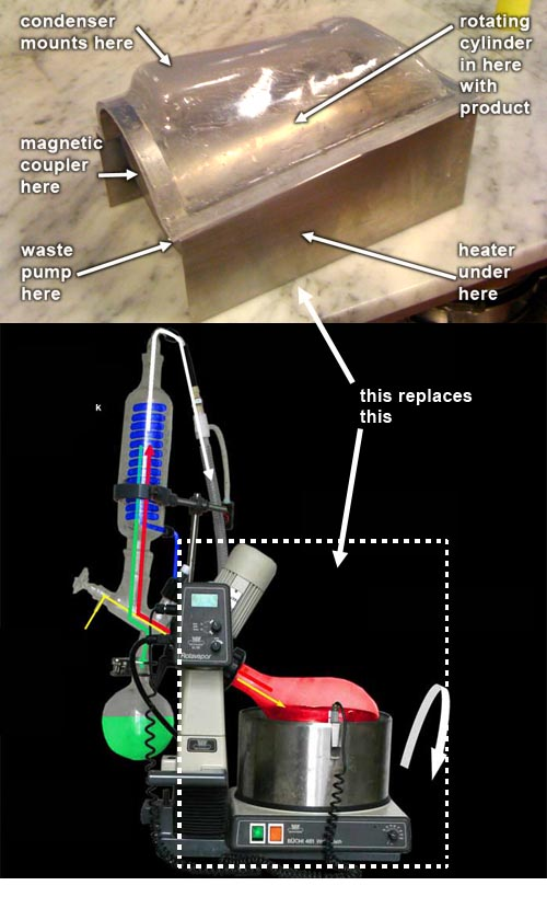 On top: new rotovap base; on bottom: what it replaces.