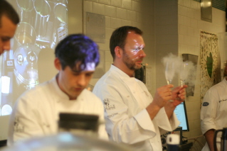 Nils chilling the glasses with liquid nitrogen while Dave prepares the Cold Buttered Rum