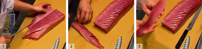 1) Cut a saku off the portion of the fish that was farthest from the belly. 2) Flip it over and trim (the trim goes into the scrapings pile). 3) Look at the piece. On the bottom it is fatty and on the top it is lean. Suzuki puts it in the medium fat, or chutoro, pile. (Note that between 1) and 2) the main piece of fish has been rotated 180 degrees)