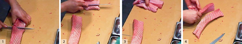 1) Cut the rest of the belly in half. 2) 3) and 4) cut the halves into two saku each.