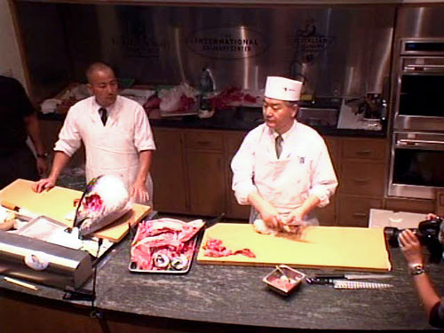 Chef Kobayashi on the left and Chef Suzuki on the right at the end of one sweet demo.