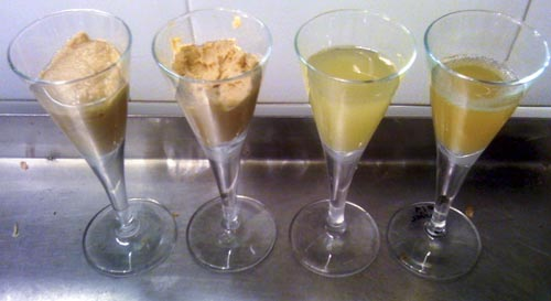 Left to right: the blended scotch and peanut goop before spinning; the very smooth, highly alcoholic peanut butter with almost no scotch taste; the not-so-alcoholic, strange tasting, very peanutty scotch liquid; awesome, awesome, scotch flavored peanut oil